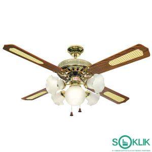 Kipas Angin Ceiling Brass Uchida CF103 52 inch Brass 5 Lampu